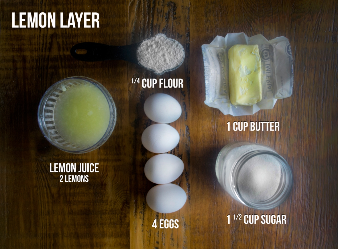 HOW TO MAKE 2ND LAYER (LEMON) - whisk these ingredients together. After the crust bakes 20 minutes, layer on top and bake for 30 more minutes.